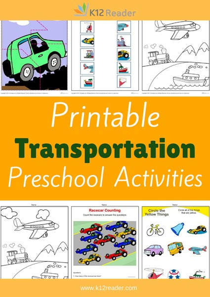 transportation preschool theme activities printable classroom lessons. Black Bedroom Furniture Sets. Home Design Ideas
