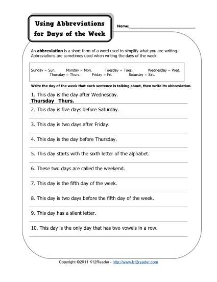Using Abbreviations for Days of the Week - Free, Printable Abbreviation Worksheet