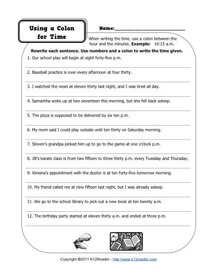Using Colons for Time - Free, Printable Worksheet