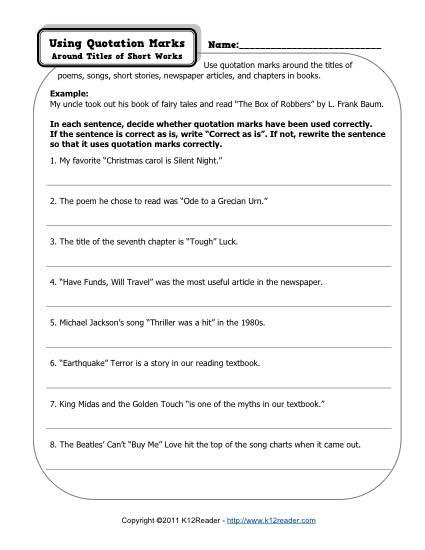 Free, Printable Quotation Marks Worksheet - Short Works