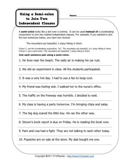 Using Semicolons to Join Independent Clauses - Printable Worksheet Activity