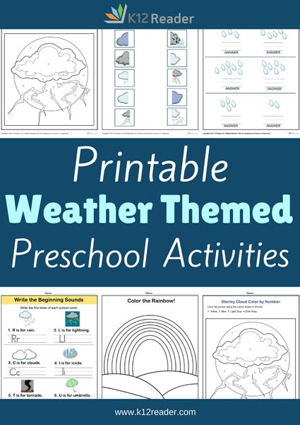 Weather Themed Printable Activities for Preschool