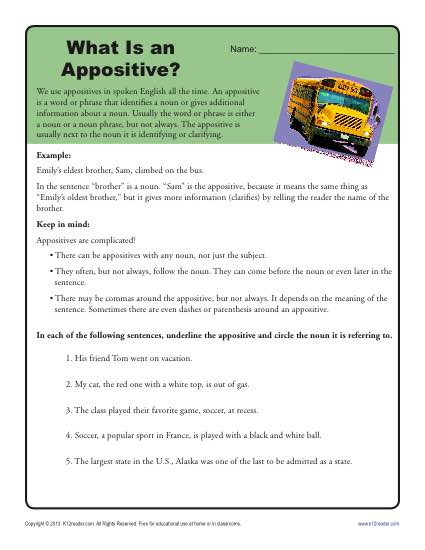 What is an Appositive? Free, Printable Worksheet Activity