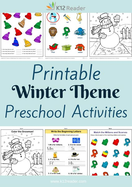 Winter Themed Printable Activities for Preschool