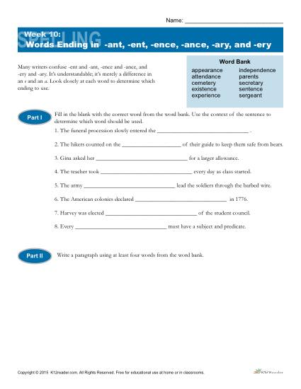 High School Spelling Words Worksheets – Week 10 – Words Ending in -ant, -ent, -ence, ance, -ary, and -ery