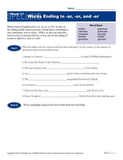 High School Spelling Words Worksheets – Week 17 – Words Ending in -ar, -or and -er