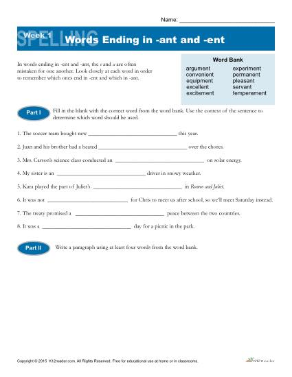 High School Spelling Words Worksheets – Week 1 - Words Ending in -ant and -ent