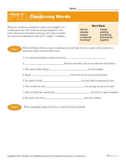 High School Spelling Words Worksheets - Week 27 - Combining Words
