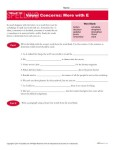 High School Spelling Words Worksheets - Week 30 - Vowel Concerns: More with E