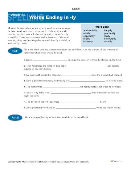 High School Spelling Words Worksheets - Week 34 - Words Ending in -ly