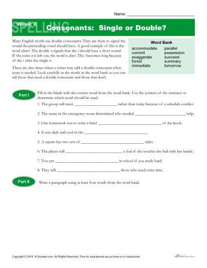 High School Spelling Words Worksheets – Week 8 – Single or Double