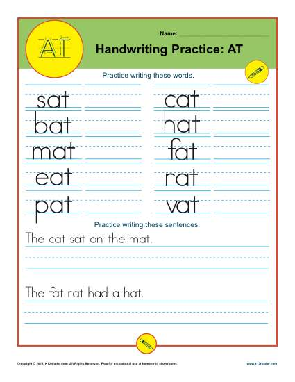 Letters AT | Printable Alaphabet Handwriting Worksheets for Kids