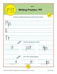 Handwriting Practice Sheet - P, I, T