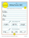 Handwriting Practice Sheet - M, A, R