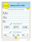 Handwriting Practice Sheet - M, A, R