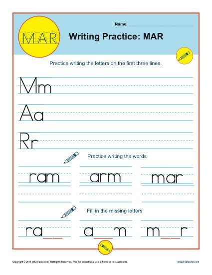 photo regarding Printable Mar identified as Letters MAR Printable Alaphabet Handwriting Worksheets for