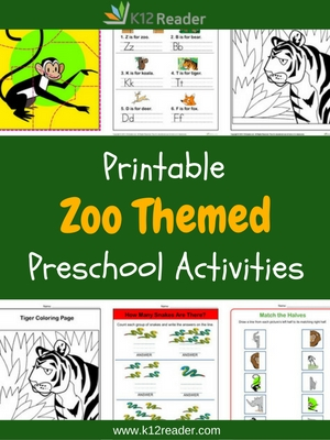 Zoo Themed Printable Activities for Preschool