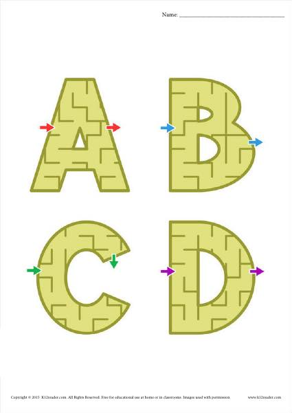 Alphabet Worksheet Maze Activity for all 26 letters