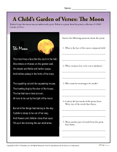 A Child's Garden of Verses Comprehension Activity - The Moon