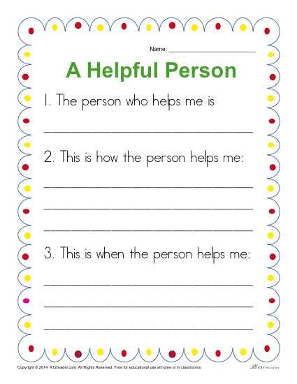 kindergarten writing prompt a helpful person. Black Bedroom Furniture Sets. Home Design Ideas