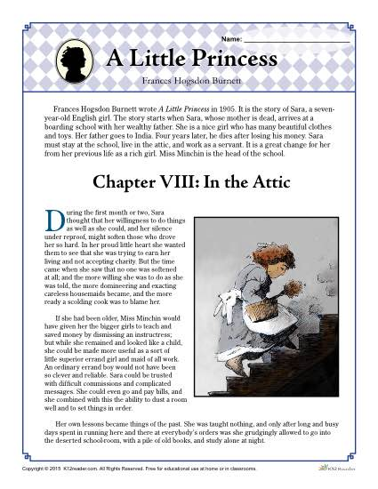 A Little Princess on inferences worksheets for 2nd grade