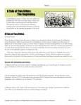 Reading Comprehension Worksheet - A Tale of Two Cities