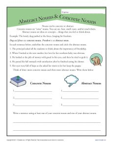 Abstract Nouns and Concrete Nouns Printable Activity