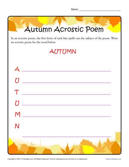 Autumn Acrostic Poem