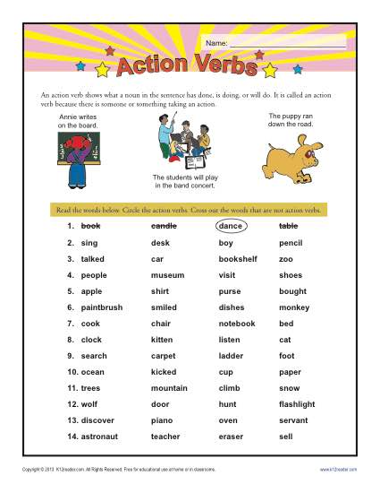 printable worksheet on action verbs