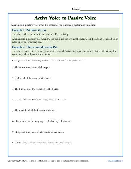Active and passive voice worksheet