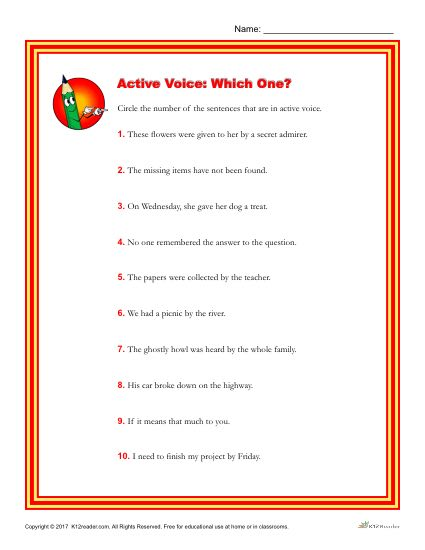 Which of the Following Sentences are in an Active Voice?