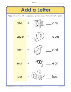 Vowel Worksheet Practice Activity - Add a Letter