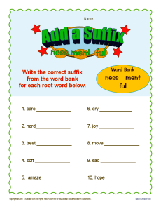 Suffix Worksheet Activity - Add a Suffix