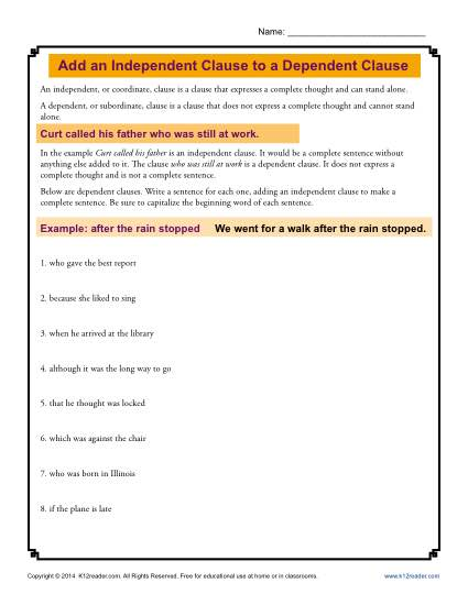 Worksheet - Add an Independent Clause to a Dependent Clause