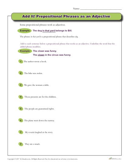 Prepositional Phrases as an Adjective | Grammar Worksheet