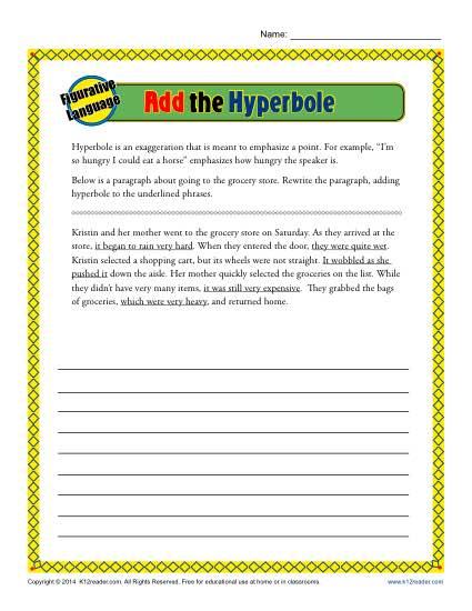 Add The Hyperbole Worksheet Activity