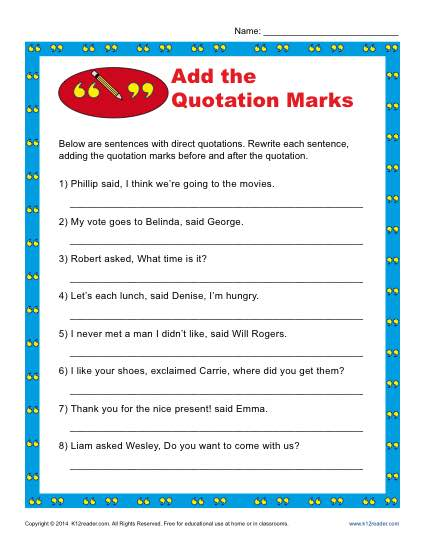Add the Quotation Marks Worksheet | Punctuation Worksheets