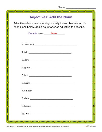 Adjectives Activity: Add the Noun | Grammar Worksheets