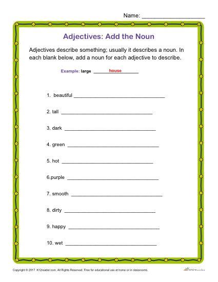 Adjectives Activity: Add the Noun   Grammar Worksheets