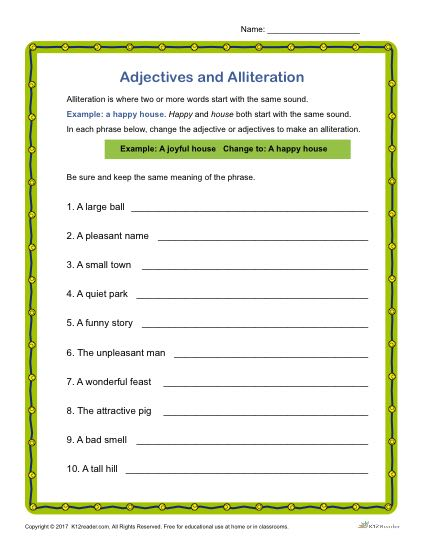 Adjectives and Alliteration Activity | Grammar Worksheets