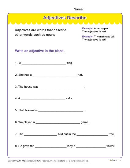 adjectives describe printable adjectives worksheet. Black Bedroom Furniture Sets. Home Design Ideas