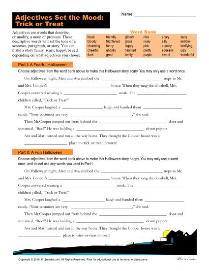 Halloween Adjectives Worksheet | Trick or Treat