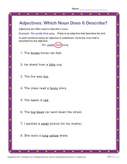 Adjectives: Which Noun Does it Describe? | Grammar Worksheets