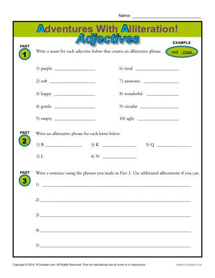 Adventures With Alliteration - Adjectives - Free, Printable Worksheet Lesson Activity