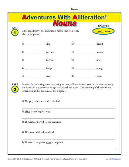 Alliteration And Nouns Figurative Language Worksheets