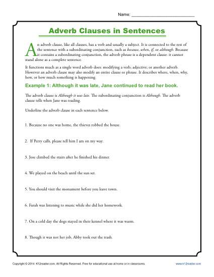 Adverb Clauses in Sentences | Clause Worksheets