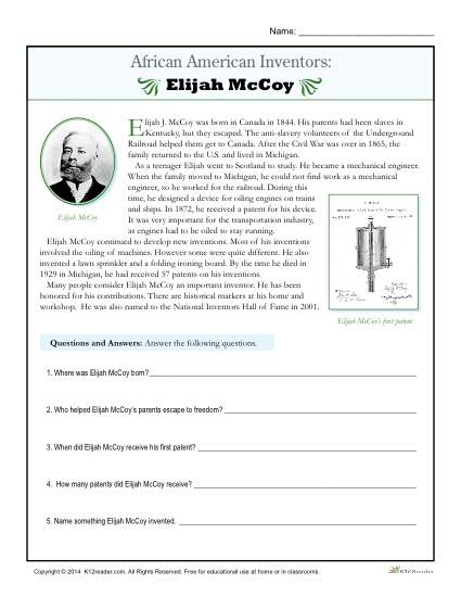 African American Inventors Reading Activity - Elijah McCoy