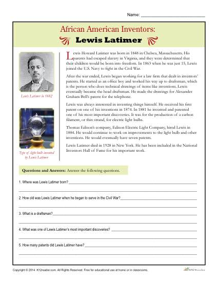African American Inventors Reading Activity - Lewis Latimer