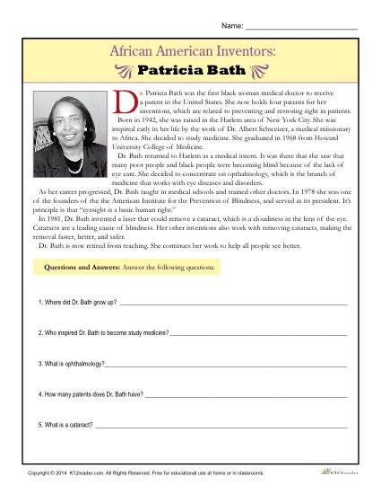 Patricia Bath Reading Comprehension Activity - African American Inventors