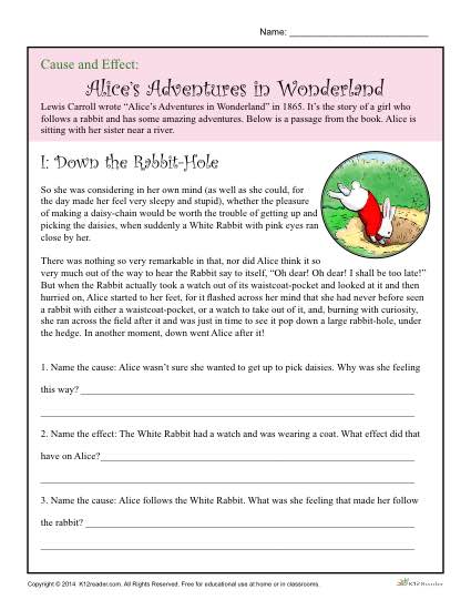 Cause And Effect Worksheet Alices Adventure In Wonderland